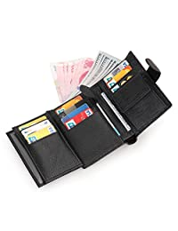 Artmi Mens RFID Leather Trifold Wallet with Double ID Windows Valentine Gift