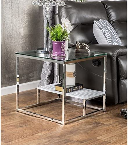 BOWERY HILL Square Glass Top End Table - the best living room table for the money