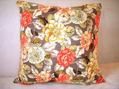Rose Pillow Cover English Flower Garden Cream Peach Orange Gold Green Grey Gray French Country Shabby Chic Traditional Floral