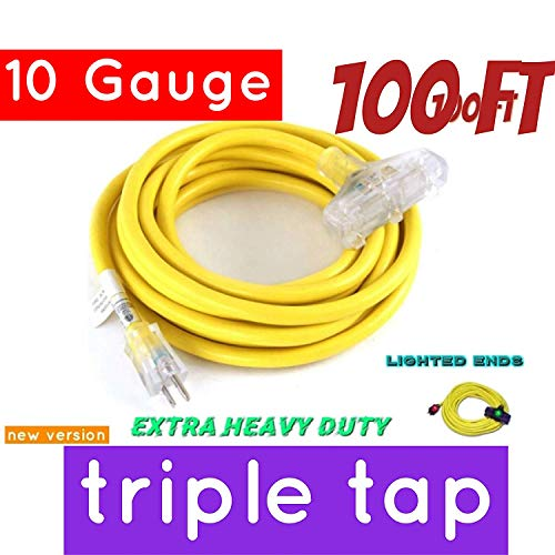 100 ft 10 Gauge Heavy Duty Indoor Outdoor SJTW Lighted Triple Outlet Extension Cord Century Contractor Yellow 100 foot 10 AWG Copper Lighted Multi Outlet Grounded 10/3 Extension Cord (10 Awg, 100)