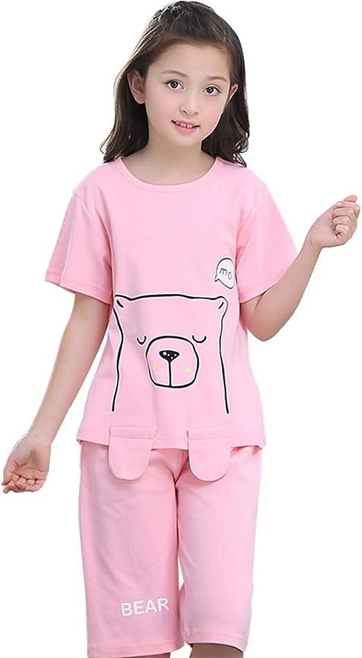 Camisones Ropa De Dormir para Niñas Manga Corta para Niñas 100% Algodón Pantalones Cortos para Niñas Servicio En El Hogar para Niños Se Puede Usar Afuera (Color : Pink, Size : 100cm):