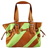 Large Light Green / Tan Striped Drawstring Shoulder Bag, Bags Central