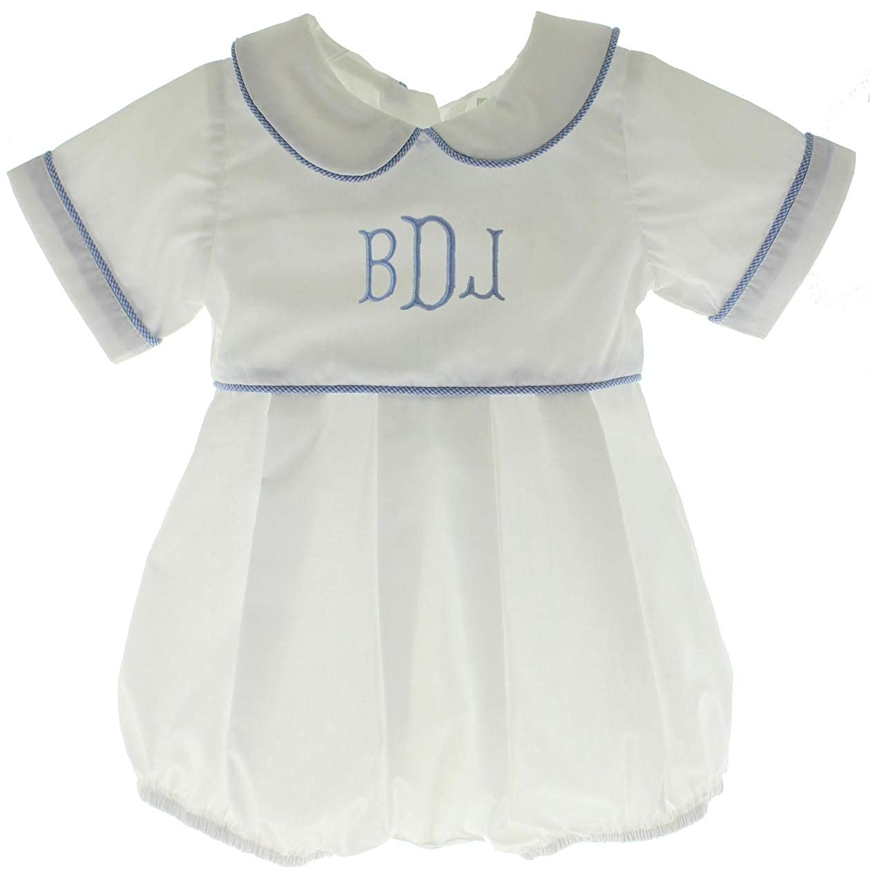 Hiccups Childrens Boutique Boys White Romper Blue Gingham Trim Dressy Baby Personalized Bubble Outfit