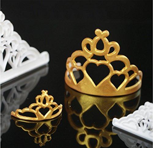 Sakolla (Set of 2) Crown Cookie Cutter Set, Tiara Cutter Crown and Princess Crown CupCake Decorating Gumpaste Fondant Mould