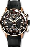 IWC Aquatimer Black Dial 18kt Rose Gold Black Rubber Mens Watch IW376905