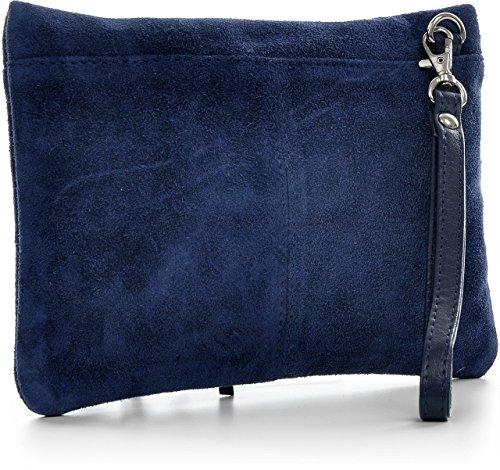 CNTMP - bolso para señora, clutches, clutch, bolsos de mano, bolsas de noche, bolsas de fiesta, bolsos de tendencia, gamuza, ante,flecos,bolso de cuero, 23 x 16, 5x1cm (l x an x a) Azul oscuro