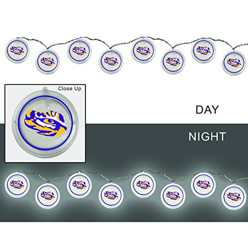 (Team Sports America Louisiana State University Outdoor Safe Battery Powered String Light Set)