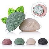 Natural Konjac Sponge Facial Puff Face Wash Cleansing& Exfoliating Beauty Sponges 4 Pack - Hemisphere Shape