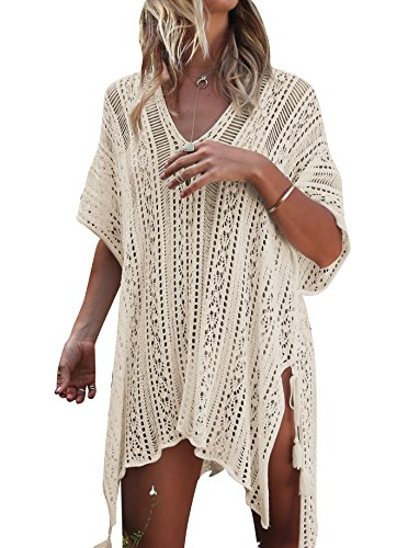 Jeasona Women's Bathing Suit Cover Up Beach Bikini Swimsuit Swimwear Crochet Dress (Beige, (Womens Bathing Swimsuit)