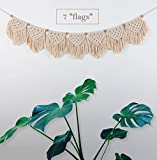TIMEYARD Macrame Woven Wall Hanging Fringe Garland Banner - BOHO Chic Bohemian Wall Decor - Apartment Dorm Living Room Bedroom Decorative Wall Art, 9'' W x45 L, 7''flags