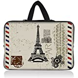"""11.6"""" Inch Neoprene Notebook MacBook Carrying bag Sleeve Case with Hide Handle for Apple Air 11/ASUS UX21E X202E K200MA Q200E S200E F200MA Taichi 21/HP Pavilion 11 x2/Dell Inspiron 11/Lenovo IdeaPad S210 Yoga 11s/Acer Aspire One V3 V5 E3 S7/Toshiba Satellite NB15T/Sony VAIO E11 Series - Paris Design"""