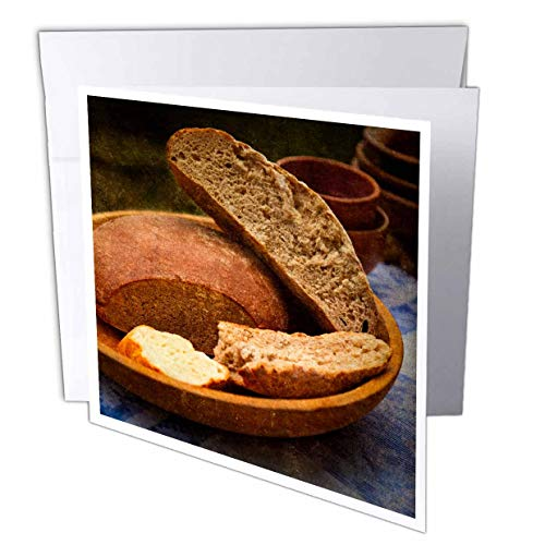 Earthenware Square Plates - 3dRose Alexis Photography - Still-Life - Still-Life with loafs of Bread in a Ceramic Plate. Earthenware - 12 Greeting Cards with envelopes (gc_308109_2)