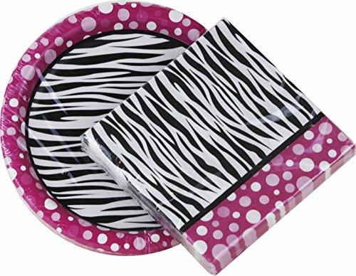 Pink Polka Dot Zebra Print Paper Plates &