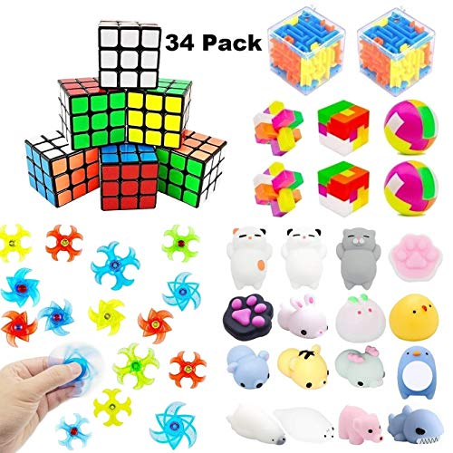 Fun Party Favors For Kids Toy,Mochi Squishies,Puzzle Balls,Finger Gyro Spiral Twister Toys For Party Toys,Birthday Party,Classroom Rewards,Carnival Prizes,Pinata Filler,Treasure Chest,Goody Bag Fillers(Assorted 34 -