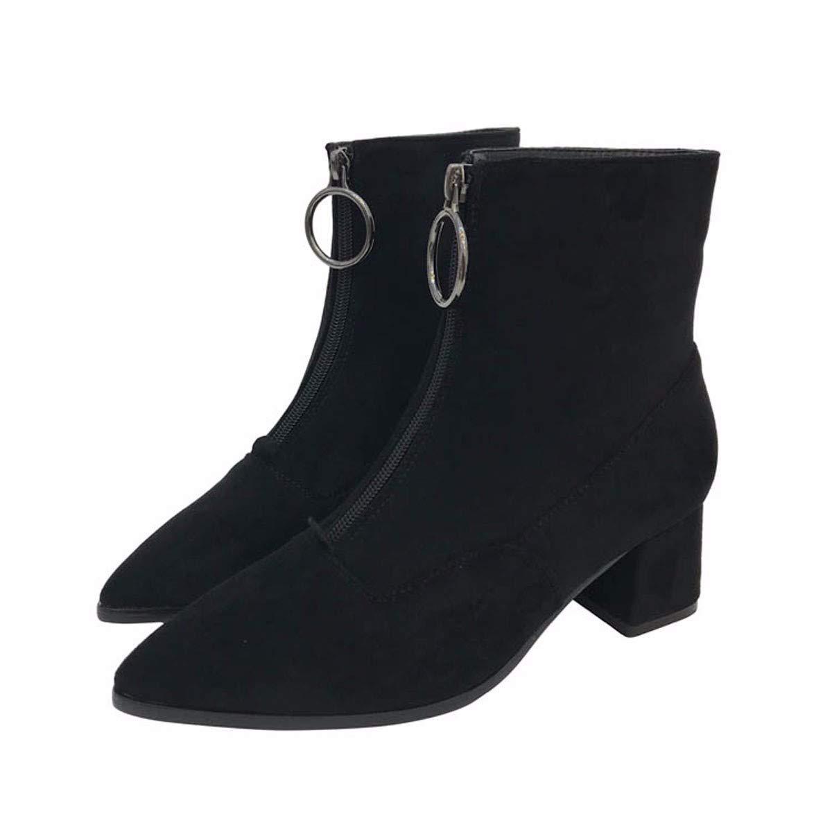 KPHY Damenschuhe Kurze Stiefel Mit Hohen 5Cm Harte Sohle Wies Kopf Martin Stiefel - Reißverschluss Elastisch Dünn Warm Kurze Stiefel.