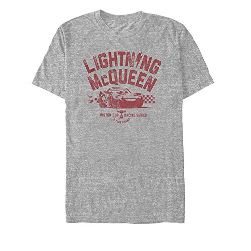 Cars Men's Lightning McQueen Piston Cup Athletic Heather T-Shirt - Cup Slim Fit T-shirt