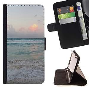 For Sony Xperia Z1 Compact / Z1 Mini (Not Z1) D5503 Case , Arena Summer Sunset Amanecer Océano- la tarjeta de Crédito Slots PU Funda de cuero Monedero caso cubierta de piel