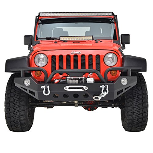 Restyling Factory Jeep Wrangler JK Black Full Width Front Bumper With OE Fog Lights Hole and Winch Plate JK Jeep