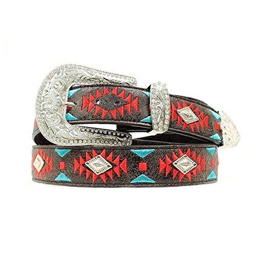 Southwest Design Diamond Shaped Conchos Belt, Black, L (Shaped Conchos)