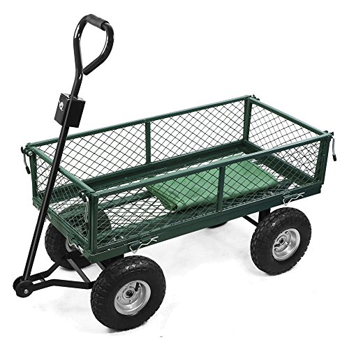 200kg Metal Garden Outdoor Utility Cart with Interior Cover