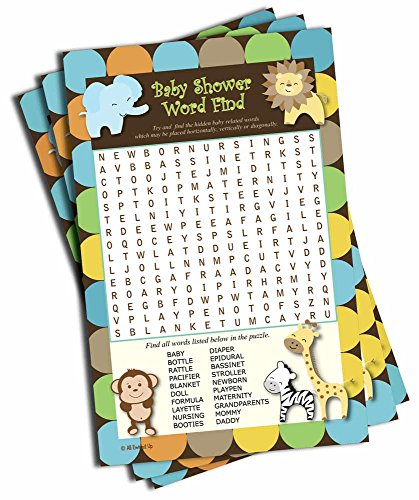Word Find Search - Baby Shower Game - King of Jungle Theme (50-sheets)
