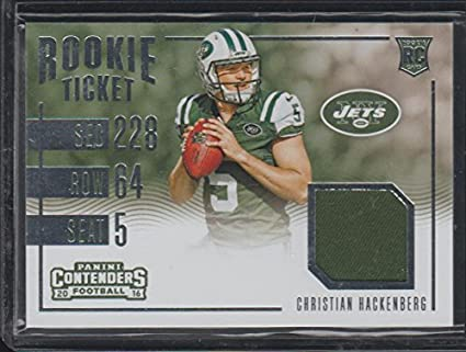 2016 Panini Contenders Christian Hackenberg Jets Game Used Jersey Rookie  Football Card  4 2d8fee676