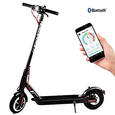 Swagtron Swagger 5 Portable and Foldable Electric Scooter with Air-Filled Tires, Top Speed at 18 MPH, iOS and Android App for Cruise Control, Headlight, Speedometer, includes Phone Mount