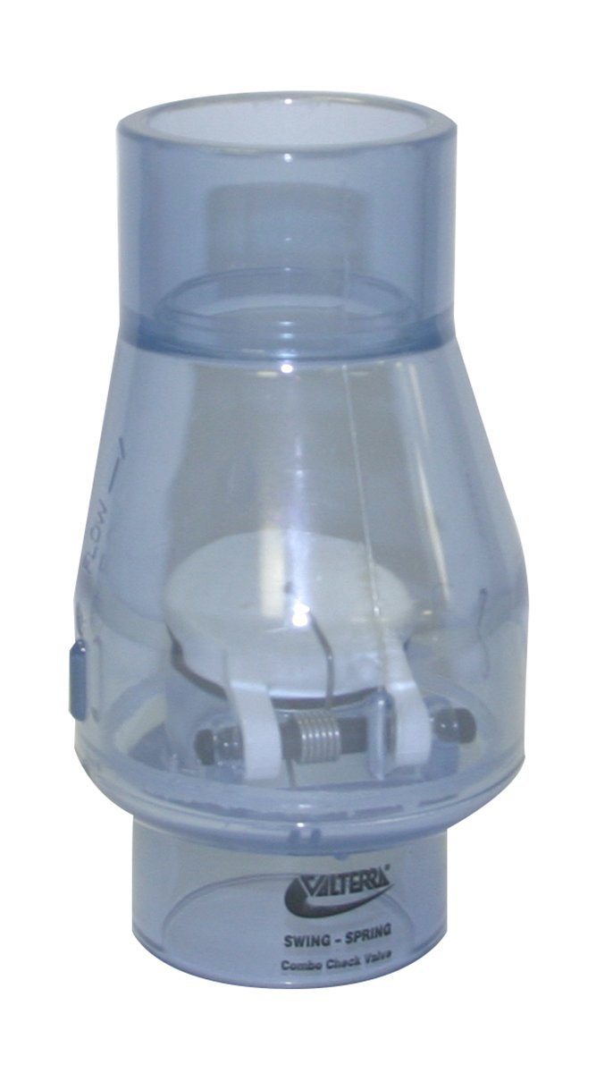 Valterra 200-C15 PVC Swing/Spring Combination Check Valve, Clear, 1-1/2'' Slip by Valterra