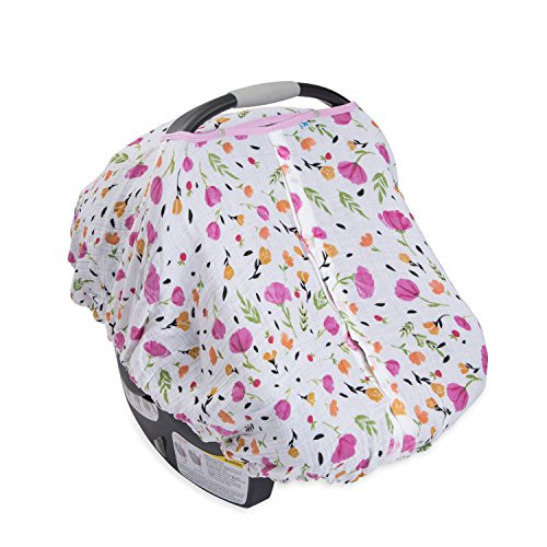 Little Unicorn Cotton Muslin Car Seat Canopy - Berry & Bloom - Bloom Berry