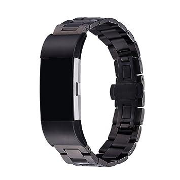 Bandmax Bracelet Fitbit Charge 2 Homme Acier Wristband Métal Bracelet de Remplacement Noir pour Montre Connectée