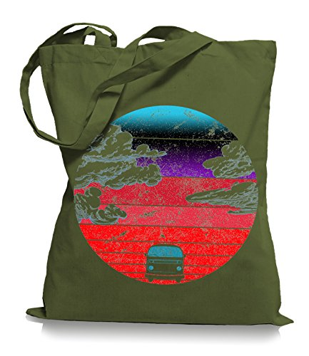 Ma2ca® Camper Bus - Jutebeutel Stoffbeutel Tragetasche / Bag WM101 Olive Green