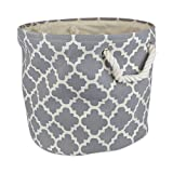 "DII Collapsible Polyester Storage Basket or Bin with Durable Cotton Handles, Home Organizer Solution for Office, Bedroom, Closet, Toys, & Laundry (Medium Round – 12x15""), Gray Lattice"