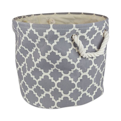 "DII Collapsible Polyester Storage Basket or Bin with Durable Cotton Handles, Home Organizer Solution for Office, Bedroom, Closet, Toys, Laundry (Medium Round - 12x15""), Gray Lattice"
