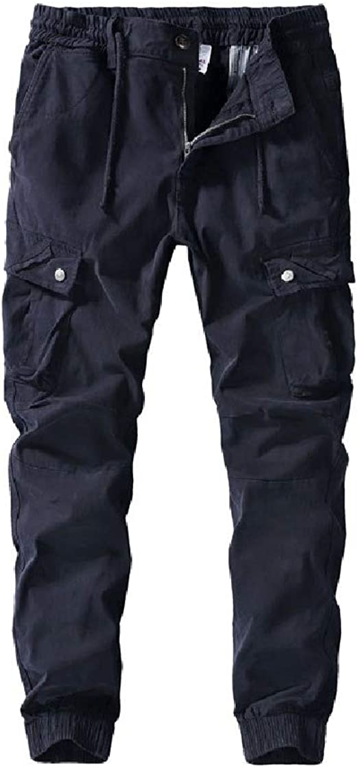 sayahe Mens Stylish Washed Standard-fit Casual Beam Foot Cargo Pants