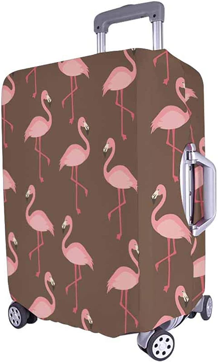 INTERESTPRINT Travel Luggage Protector Suitcase Covers Fit 18-28 Inch Luggage Flamingo
