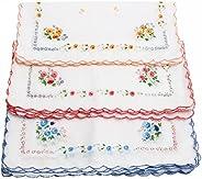 12 Pcs Women's Ladies Vintage Cotton Square Shape Floral Handkerchief G