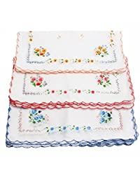 12 Pcs Women's Ladies Vintage Cotton Square Shape Floral Handkerchief Gifts