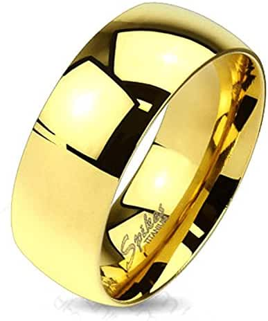 Wide Classic Gold IP Solid Titanium Band Ring