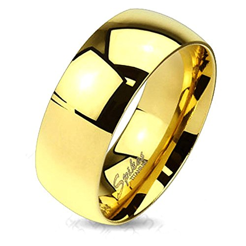 Wide Classic Gold IP Solid Titanium Band Ring (W: 6mm, Ring Size: (Classic Solid Wide Band)