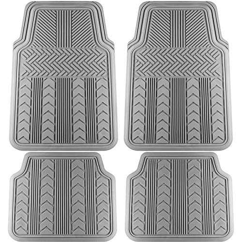 - Motorup America Auto Floor Mats (4-Piece Set) All Season Rubber - Fits Select Vehicles Car Truck Van SUV, Arrow Gray