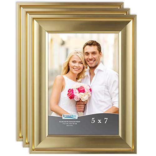 Icona Bay 5x7 Picture Frame (3 Pack, Gold), Gold Photo Frame 5 x 7, Wall Mount or Table Top, Set of 3 Elegante Collection