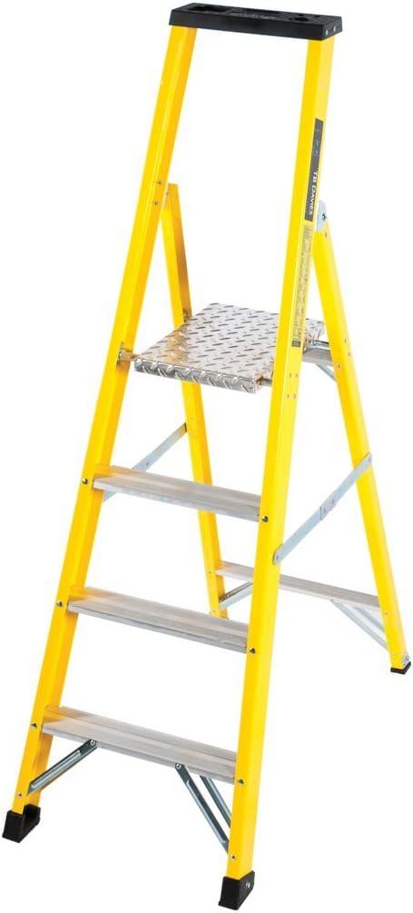 Cumbre de fibra de vidrio 10 Tread Plataforma Escalera de pies de goma antideslizante: Amazon.es: Bricolaje y herramientas