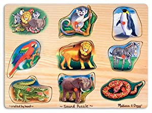 Amazon.com: Melissa & Doug Zoo Sound Puzzle - Wooden Peg