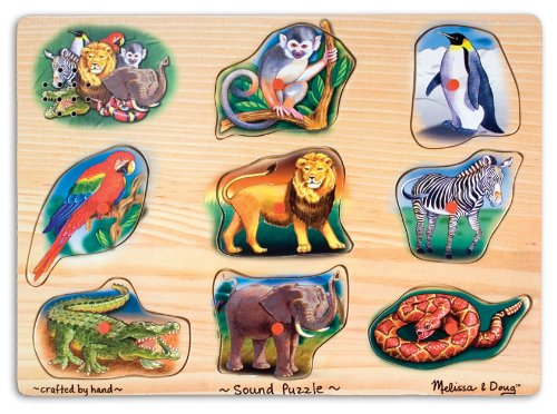 Melissa & Doug Zoo Peg - Melissa & Doug Zoo Sound Puzzle - Wooden Peg Puzzle With Sound Effects (8 pcs)