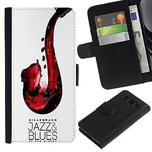 KLONGSHOP / Tirón de la caja Cartera de cuero con ranuras para tarjetas - Jazz Blues Wine Red Saxophone Art - Samsung Galaxy S3 III I9300