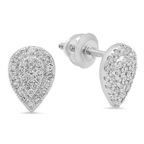 Dazzlingrock Collection 0.25 Carat (ctw) 10K Round White Diamond Ladies Teardrop Cluster Stud Earrings 1/4 CT, White Gold