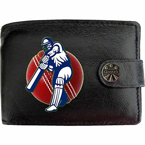 Cricketer Batsman Red Cricket Ball Kricketspieler Klassek Herren Geldbörse Portemonnaie Brieftasche aus echtem Leder schwarz Geschenk Präsent mit Metall Box