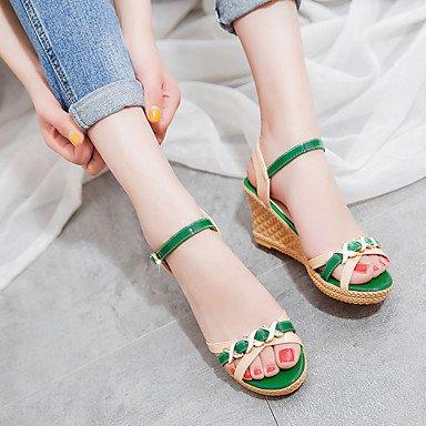 LvYuan Mujer Sandalias PU Primavera Verano Hebilla Tacón Cuña Verde Azul 7'5 - 9'5 cms Green
