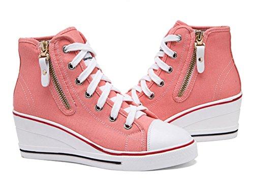 Mujer Cuña 35 43 Rosa mogeek Top Zapatos High Deporte de de Mujer Zapatillas Para Lona aaqPzF