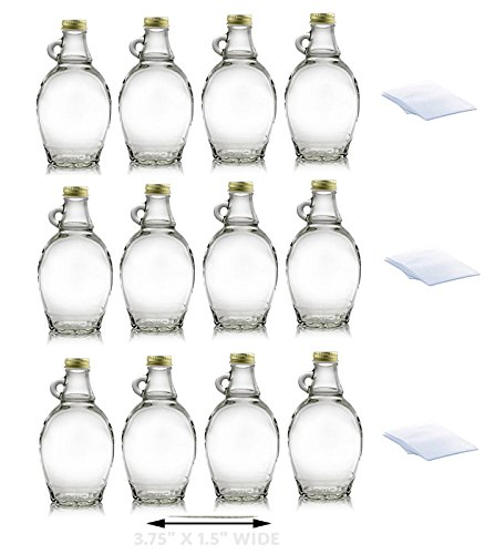 Premium Vials, 8 Ounce, 12 Pack, Empty Glass Syrup Bottles For Canning, with Metal Lids, Glass Maple Syrup Bottles (12 Pack with Shrink Wrap) - Syrup Glass Bottle